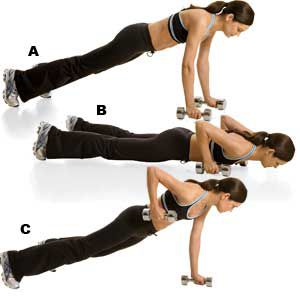 dumbbell press and row